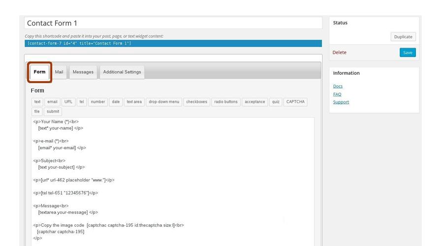 Wordpress Contact Form 7 iletişim formu eklentisi