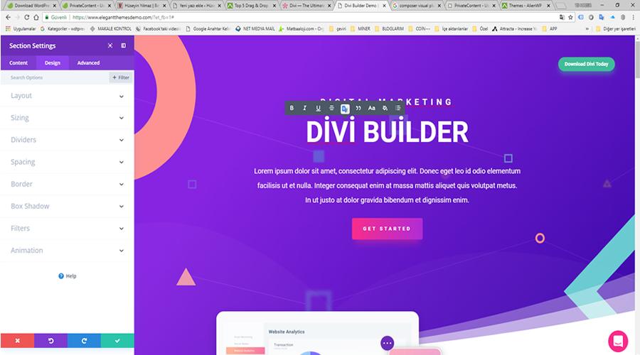 Divi Builder page builder sayfa oluşturucu